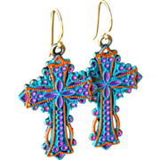 SOLD Chimayo Hand-Patinaed Cross Earrings