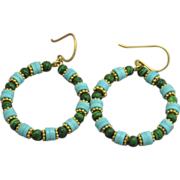 24K Gold Vermeil Malachite and Rare, Sleeping Beauty Turquoise Hoop Earrings