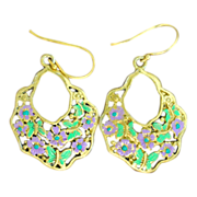 SOLD Chimayo Hand-Patinaed Butterfly and Flower Gold Tone Earrings