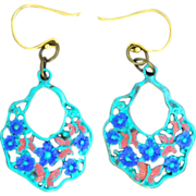 SOLD Chimayo Hand-Patinaed, Verdigris, Gold Tone Butterfly and Flower Earrings