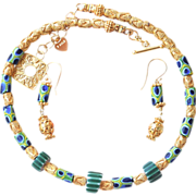 SOLD 24K Gold Vermeil and Antique Millefiori Trade Bead Necklace and Earring Set - Red Tag Sal