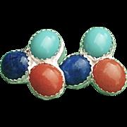 .999 Fine Silver Lapis, Aqua Glass and Orange Aventurine Gemstone Earrings