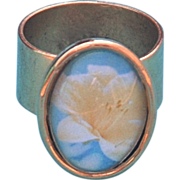 Gold Plated Pewter White Lily Ring