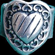 SALE Handmade .999 Fine Silver Heart Design, Pinky Ring