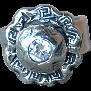 Handmade .999 Fine Silver Greek Key Flower Ring