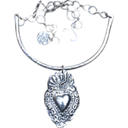 SALE Handmade Fine Silver Sacred Heart in Flames Collar Necklace
