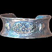SALE Handmade .999 Fine Silver Flower and Hearts Bangle Cuff