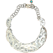 Handmade .975%  Pure Silver Hammered Collar Necklace.