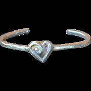 SALE .999 Fine Silver Heart Bangle