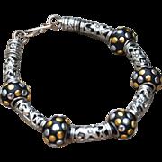 SALE Beautiful Black and Silver Tone Bracelet