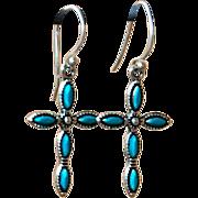 SOLD Hand-patinaed Cross Earrings