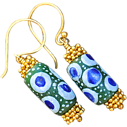 SOLD 24K Gold Vermeil African Krobo Earrings