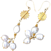 SALE 24K Gold Vermeil Freshwater, Cultured Baroque Pearl Earrings