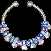 Lampwork Glass & Silver Bracelet