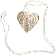 SALE Fine Silver Heart Necklace on Sterling Chain