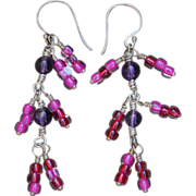 Magenta Dancing Lady Toho Glass Earrings