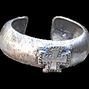 Pure Silver .975 Handmade Thick Cross Bangle