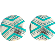 SOLD Southwestern Style Round Hand-Patinaed Earrings