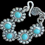 Handmade .999 Fine Silver Southwestern Style Bracelet with Vintage German Glass