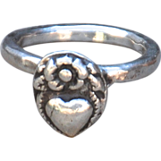 SALE Handmade .999 Fine Silver Heart Ring