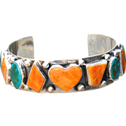 Sterling Silver Spiny Oyster and Turquoise Cuff