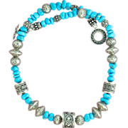 Stunning Bali Silver and Sleeping Beauty Turquoise Necklace