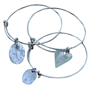 SALE Contemporary Silver Plated Bangles with Sterling Charms