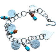 SALE Natural Sleeping Beauty Turquoise and Silver Coin Charm Bracelet