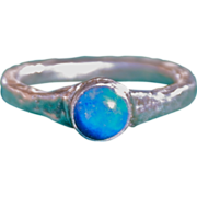 Fine Silver .999 Ring with Sleep Beauty Turquoise