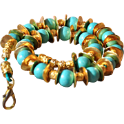 24K Gold Fired Over Copper Seafoam Ceramic Bead Necklace