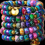 SOLD Shabby Chic Clay Polymer Wrap Bracelet