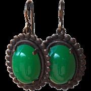 SOLD Vintage German Glass Oval Style Earrings