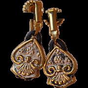 SOLD 24K Gold Fired Over Copper Sacred Heart Earrings