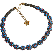 Forget-me-not bronze necklace with flower charm