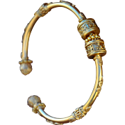 SALE 24K Gold Vermeil Bali Bead Bangle
