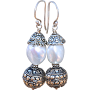 Bali Silver and Baroque Pearl Earrings