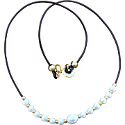 Greek Leather & Freshwater Pearl Necklace