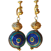 Vintage Style Nepalese & Gold Vermeil Lever Back earrings