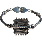 SALE Thai Silver Medallion & Bali Bead Bracelet