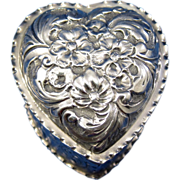 Antique Sterling Heart Dresser, Vanity Patch Box, Heart Shaped London 1897