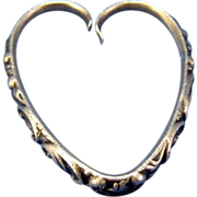 Antique Sterling Heart Shaped Repousee Key Ring