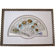 Antique 1904 The Fairy Calendar, Framed Paper Fan ORIGINAL, Acid Free Mounting