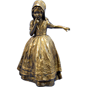 Antique Bronze Dutch Child HOLDING onto a Large Glass Vase Bowl