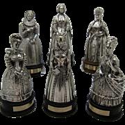 Vintage Gorham SET of 6 QUEENS Bells, Sterling Silver over Bronze