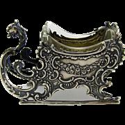 Antique Sterling OPEN SALT Sleigh, Original Glass Liner