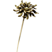Antique Gold Swivel Top Hatpin Hat Pin Flower Shaped with Seed Pearl