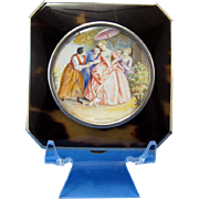 Antique Sterling Compact with Hand Painting Ladies with Dog