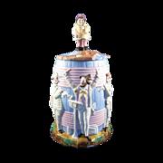 Antique Tobacco Jar or Large Jar, Musicians, Band, German Bisque, C-1890 Mint!