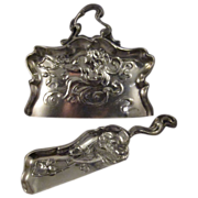 Antique Silver Plate Derby Crumber and Scoop Art Nouveau Design