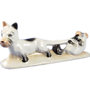 SALE Vintage Porcelain Germany Puppies, Dog, Playing Figural Knife Rest